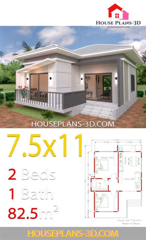 House Plans 7 5x11 with 2 Bedrooms Hip roof in 2020
