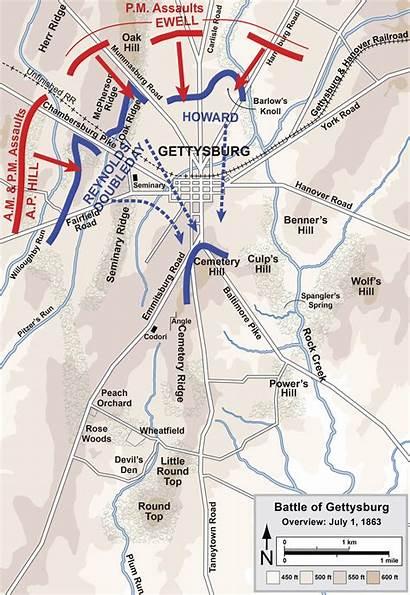 Gettysburg Battle Map Wikipedia Day1