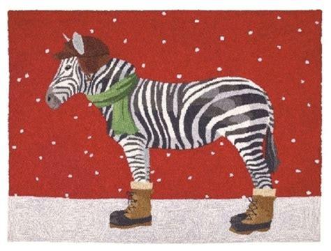 winter zebra hook rug eclectic novelty rugs  furbish