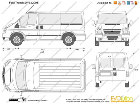 transit template eps ford transit swb vector drawing
