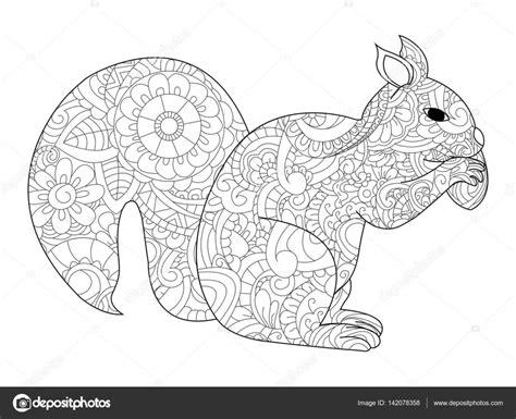 Kleurplaat Eekhoorn by Eekhoorn Met Moer Vector Kleurplaten Voor Volwassenen