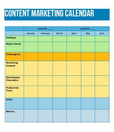Content Calendar Template Sle Marketing Schedule Design Templates