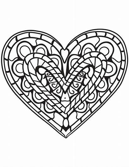 Coloring Heart Hearts Pages Adults Zentangle Printable