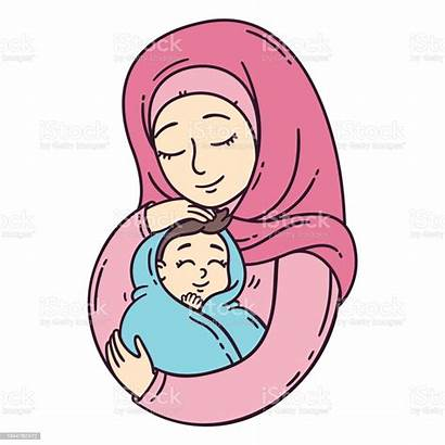 Mother Muslim Holding Vector Clip Illustration Woman