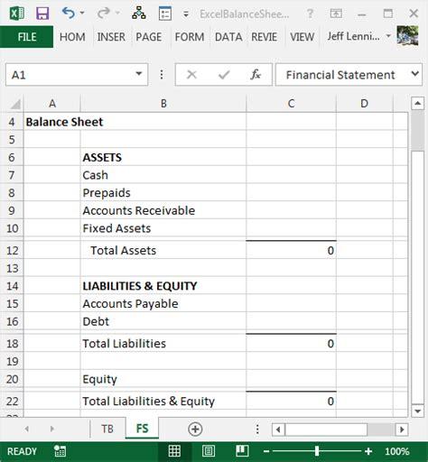 create  balance sheet  excel excel university