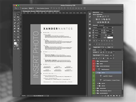 photographer resume template photoshop psd cursive