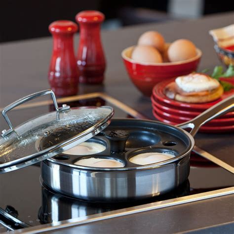 le creuset stainless steel egg poaching pan  quart cutlery