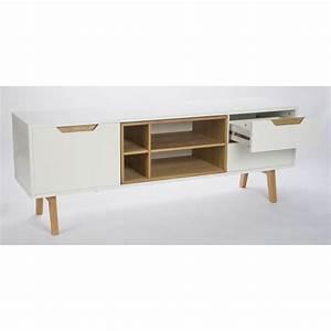 Meuble Tv 150 Cm : meuble tv design 1porte 2 tiroirs et 4 niches blanc et ch ne 150cm sleek ~ Teatrodelosmanantiales.com Idées de Décoration