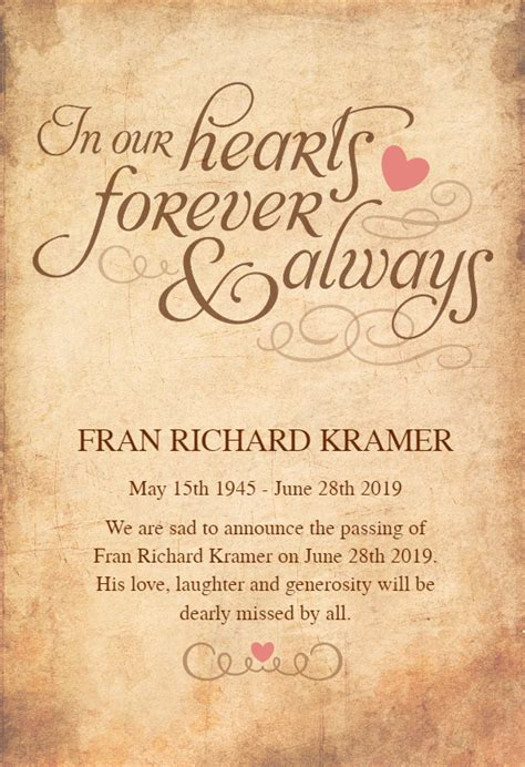 hearts  memorial card template