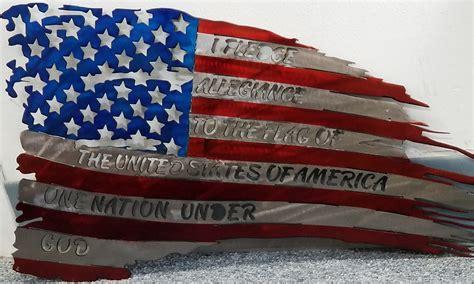 tattered steel american flag  pledge flag corps