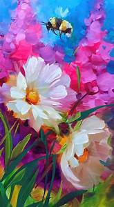 Beautiful painting with colorful daisies, other flowers ...