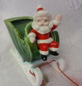 vintage napco porcelain santa on sleigh figure planter dish