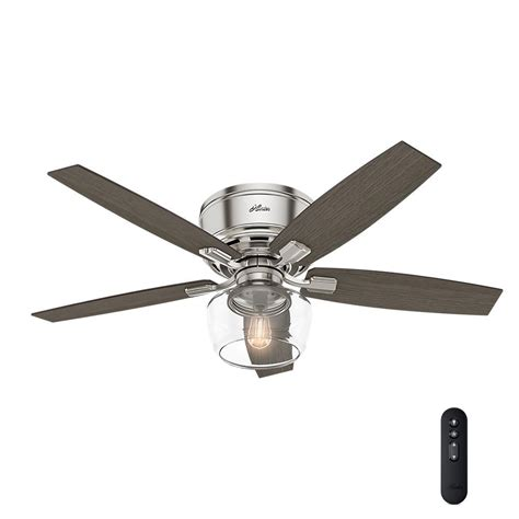 hunter 52 winslow brushed nickel ceiling fan hunter bennett 52 in led low profile brushed nickel