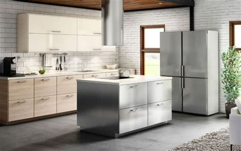 ikea stainless kitchen cabinets a kitchen with a combination of stainless steel light 4595