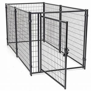Kennelmaster 4 ft x 4 ft x 6 ft welded wire dog fence for Dog run fence home depot