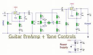 Guitar Preamp With Tone Controls - Amplifier Circuit - Circuit Diagram