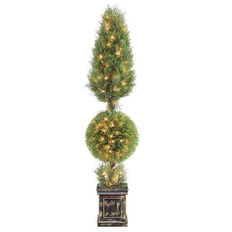 National Tree Company 72 in. Juniper Cone and Ball Topiary