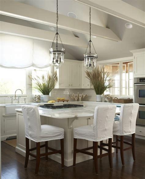 slipcovered bar stools cottage kitchen  england home