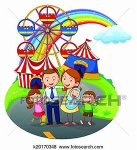 Clip Art of A happy family going to the amusement park ...