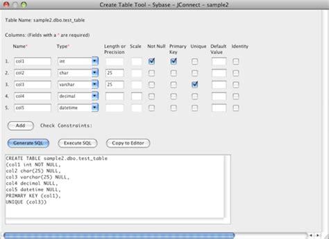sybase create table