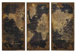 High design vintage world map in wood set of 3 eclectic for Kitchen cabinets lowes with antique world map wall art