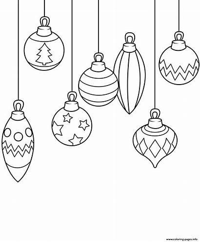 Ornaments Coloring Christmas Pages Printable