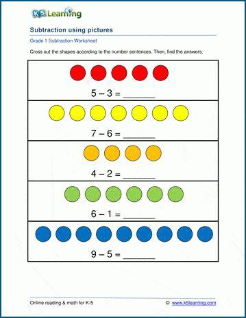 st grade math worksheet subtraction  pictures