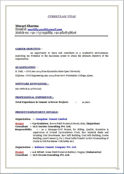resume co resume sle of b tech diploma civil working as manager civil project