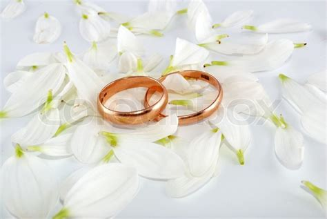 wedding rings  flowers composition stock image