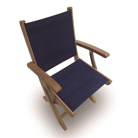royal teak sailmate sling folding armchair