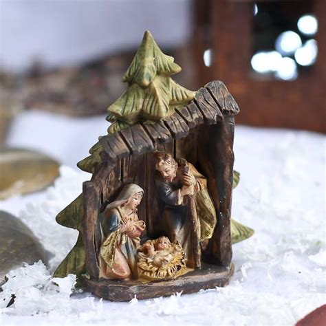small nativity figures miniature holy family figurine table decor and winter crafts