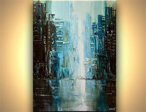 Modern 40 X 30 Original City Acrylic Painting Teal By
