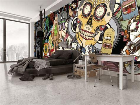 Bedroom Wall Brisbane by Bachelor Pad Cool Bedroom Idea With Sugar Skull Wall Mural