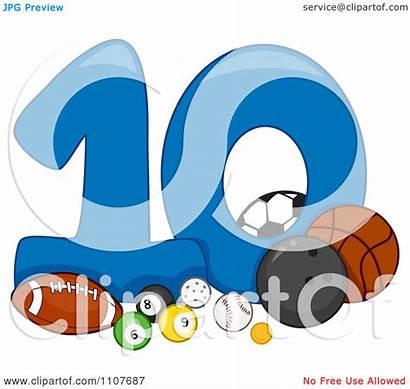 Clipart Number Ten Balls Illustration Vector Royalty