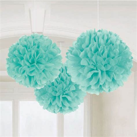 teal tissue paper pom poms pk 3 decorations buy
