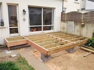 merveilleux dalle beton sur plot pour terrasse 9 nivrem With plot beton terrasse bois