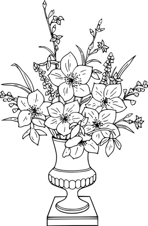 coloring pictures of flowers in a vase - Google Search