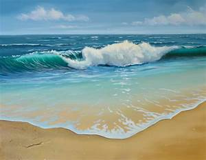 rolling waves seascape painting