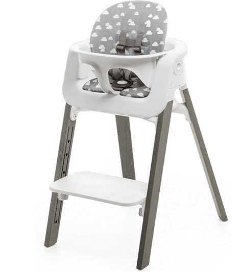 Stokke High Chair Tray White by Stokke Steps Chair Cushion No Tray White Hazy Grey