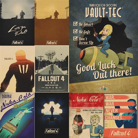 fallout posters game prints wall stickers vintage style