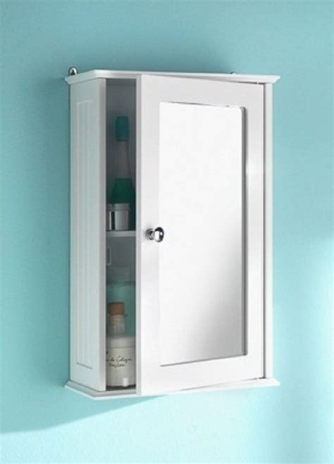 bathroom medicine cabinet vintage white single mirrored