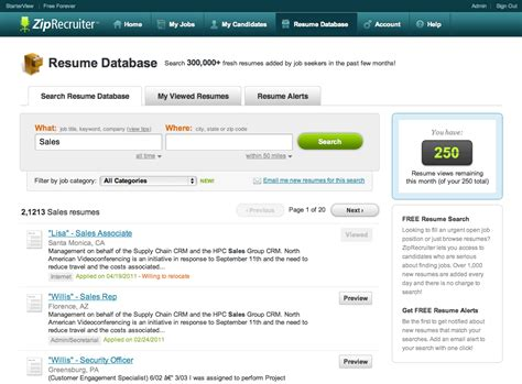 Resume Database by Ziprecruiter Resume Database Bijeefopijburg Nl
