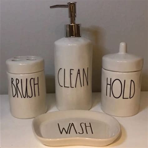 rae dunn pc bathroom set clean brush hold wash bathroom