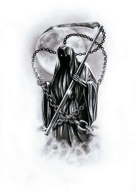 Black Ink Grim Reaper Death Tattoo Design By Kacper
