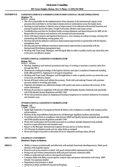 international logistics coordinator resume sles