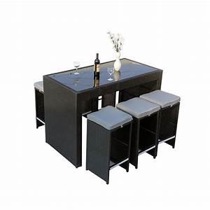 Table Resine Tressee : bar de jardin en r sine tress e milan atlanta noir ~ Edinachiropracticcenter.com Idées de Décoration