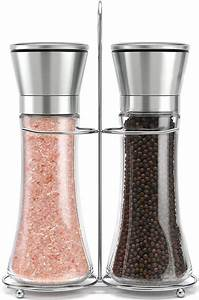 2pcs, Premium, Stainless, Steel, Salt, And, Pepper, Grinder, Tall, Salt, And, Pepper, Shakers, With