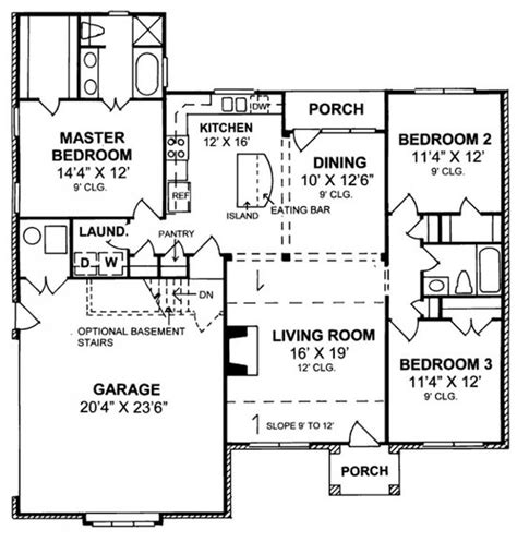 charming bedroom bath cottage split floor plan house plans floor plans
