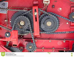 Gears And Chains On Red Background Stock Photo - Image ...