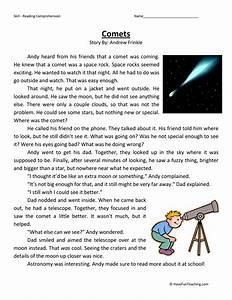 Third Grade Reading Comprehension Worksheet - Comets ...